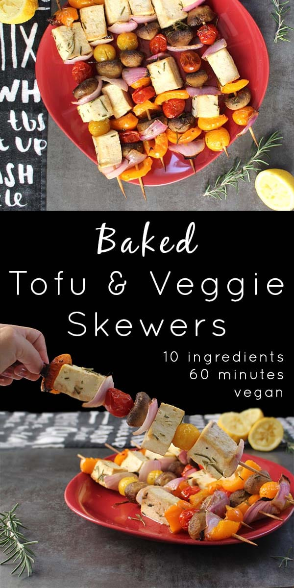 Baked Tofu Veggie Skewers starring flavorful Lemon-Rosemary Marinade are perfect for picnics and dinner parties! Serve them hot or cold.