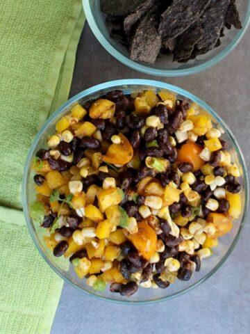 overhead photo of vegan black bean salsa