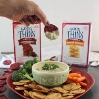 Vegan Onion Dip is a grown-up spin on a slumber party classic. Perfect for dipping as a snack or as part of your next party spread! #TrySomeTHiNGood #sponsored