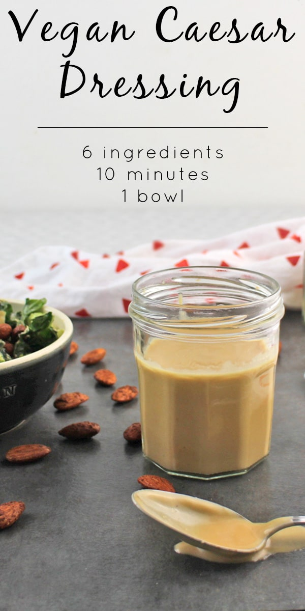 Quick & Easy Vegan Caesar Salad Dressing comes together quickly with the help of your immersion blender. No dairy needed!