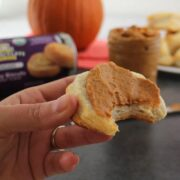pumpkin almond butter spread on a biscuit