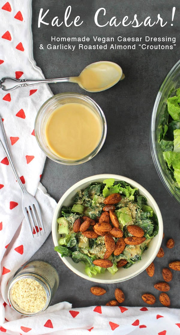 """Easy, delicious Kale Caesar Salad with Garlic Almond """"Croutons"""" can be a side dish or a meal, depending on how much you dish into your bowl."""