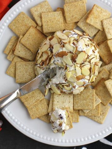 white plate on a gray table with a vegan cheese ball on it
