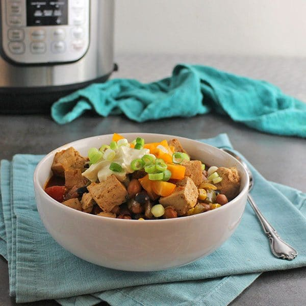 Instant Pot Chili with Canned Beans and Tofu is one of my family's favorite meals, and it's so, so easy to make!