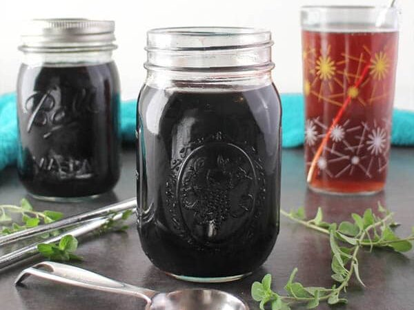 Instant Pot Elderberry Shrub is super easy to make and perfect for cold and flu season. It has elderberries, apple cider vinegar, and oregano to help boost the old immune system.