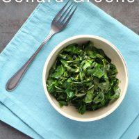 bowl of stovetop collard greens on a blue napkin