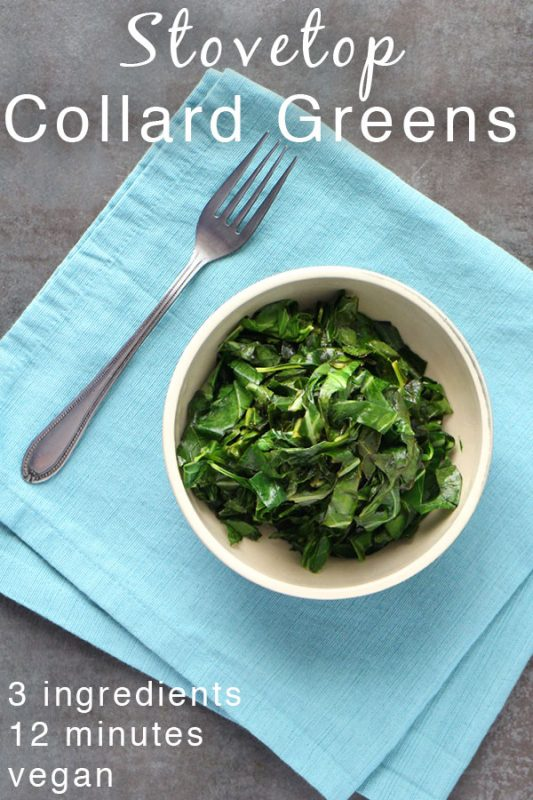 bowl of stovetop collard greens on a blue napkin