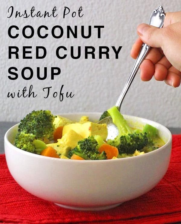 Coconut Curry Soup with Tofu made in the Instant Pot brings the heat and the flavor, and you can adjust the spiciness to suit your taste. It's ready in less time than it takes to wait for a takeout order.
