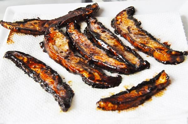 Portobello Mushroom Bacon from Veganosity