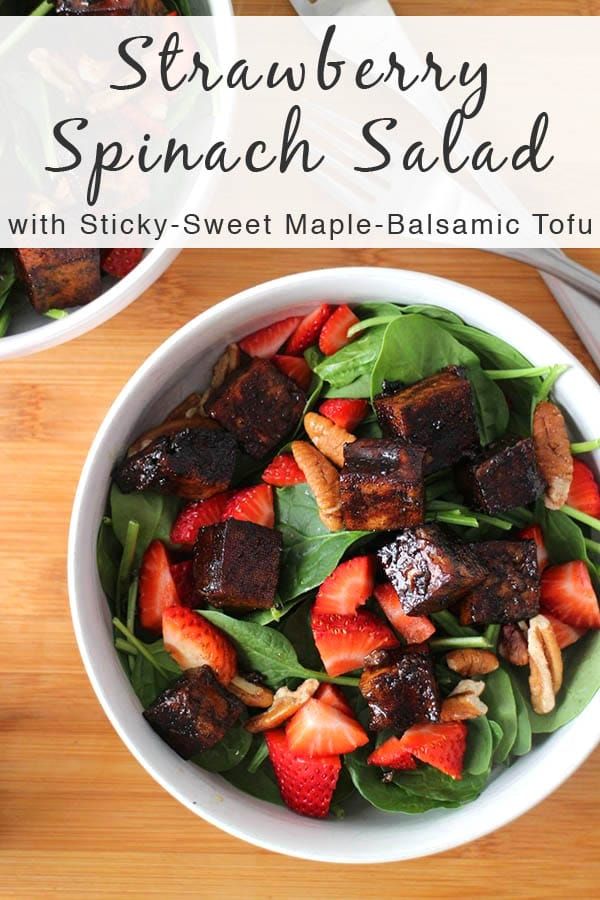 Extra firm, pressed tofu marinated and baked in Maple-Balsamic Sauce is the star of this flavorful Strawberry Spinach Salad. #sponsored