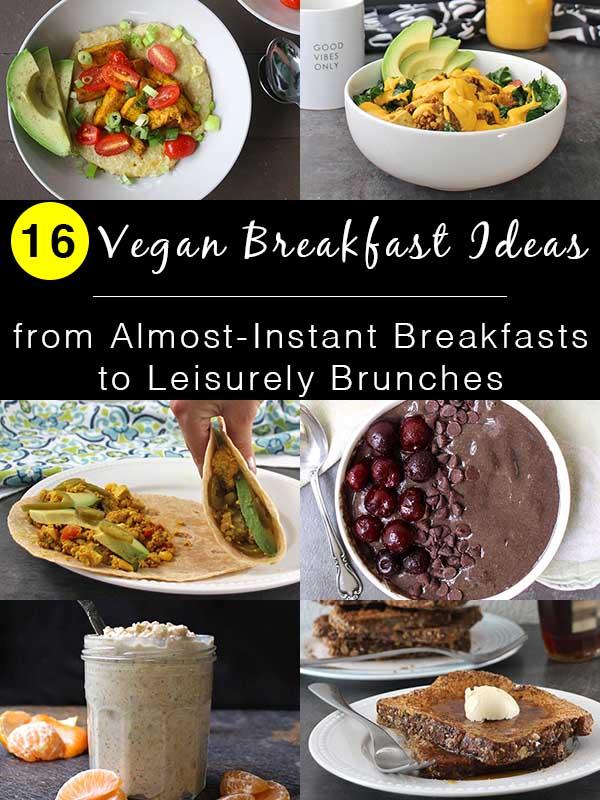 collage of easy vegan breakfast ideas