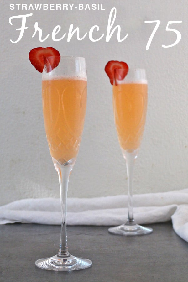 This French 75 variation features fresh strawberries and basil. And you need this bubbly strawberry-basil gin cocktail at your next party!