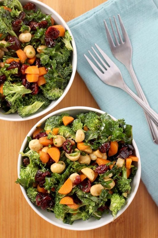 Crunchy broccoli salad is a perfect summer side dish, especially when it's loaded with massaged kale and macadamia nuts in a sweet balsamic dressing!