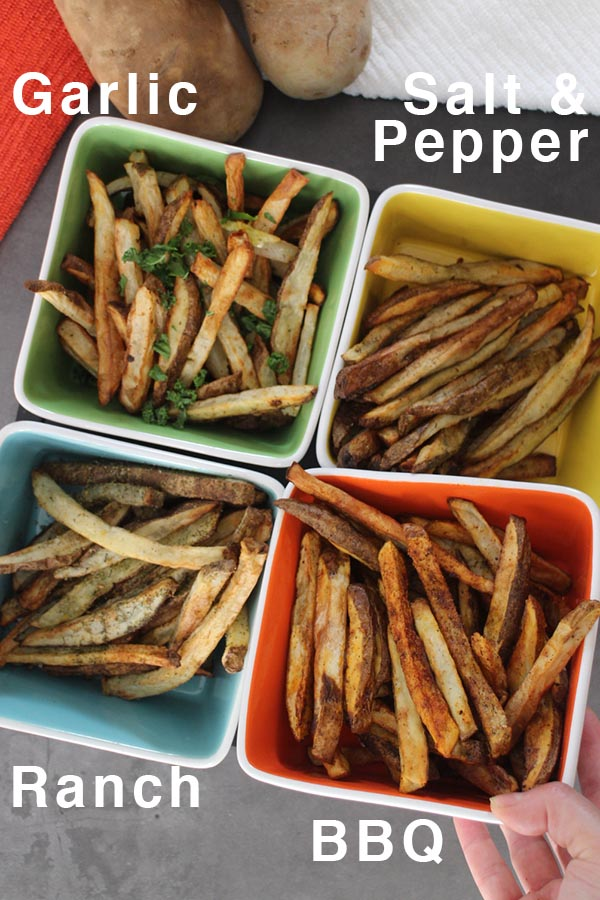 garlic, salt & pepper, ranch and BBQ seasoned fries, labeled with text
