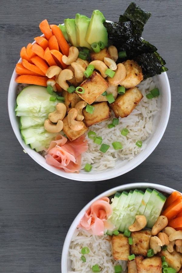overhead shot of a Ginger Tofu Vegan Sushi Bowl
