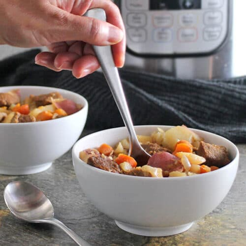 Rich, flavorful Vegan Beef Stew cooks up in a flash in the Instant Pot, and it's even quick and easy on the stovetop.