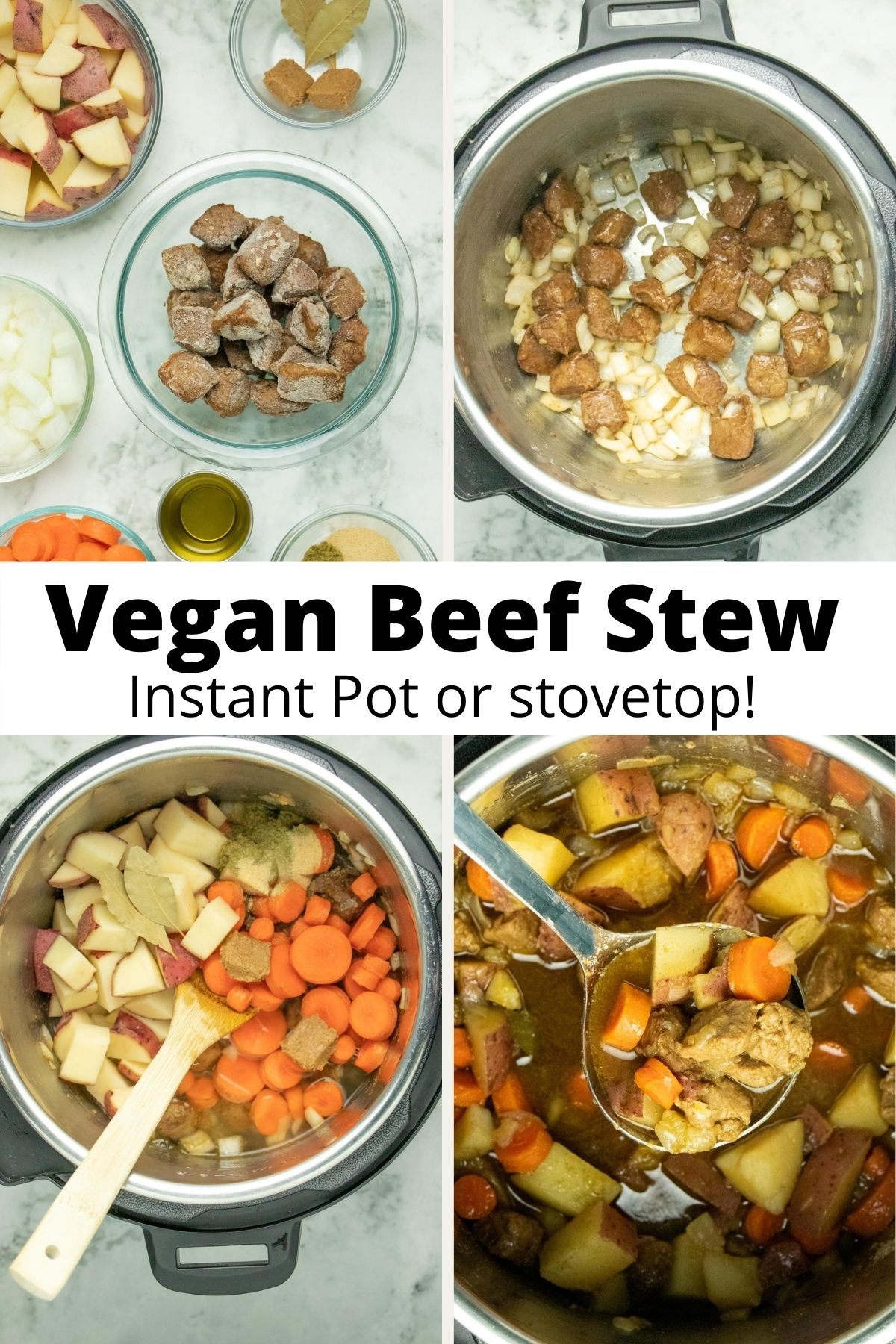 image collage of ingredients and cooking the stew in an Instant Pot, text overlay