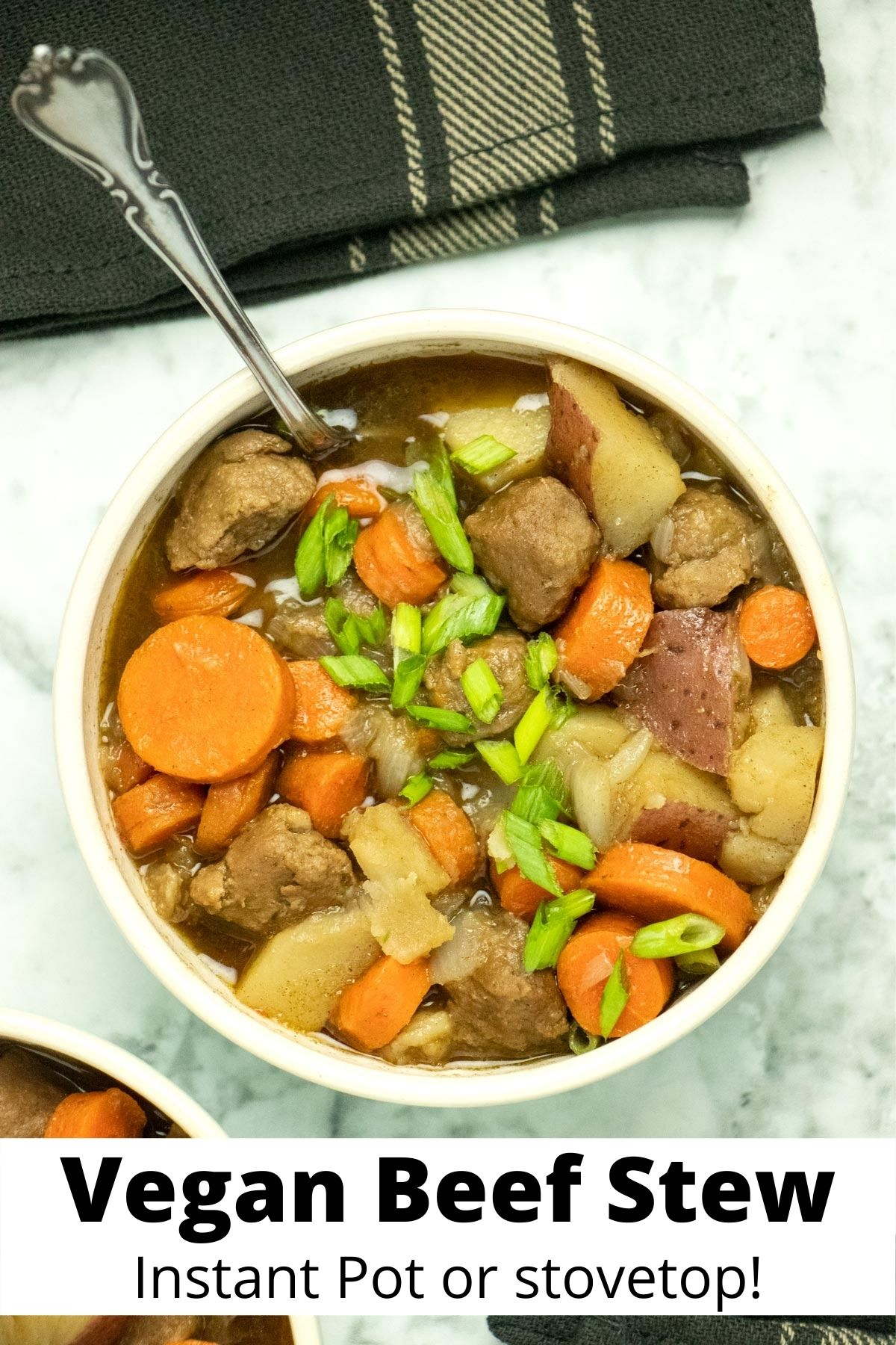 close-up of a bowl of vegan beef stew, text overlay