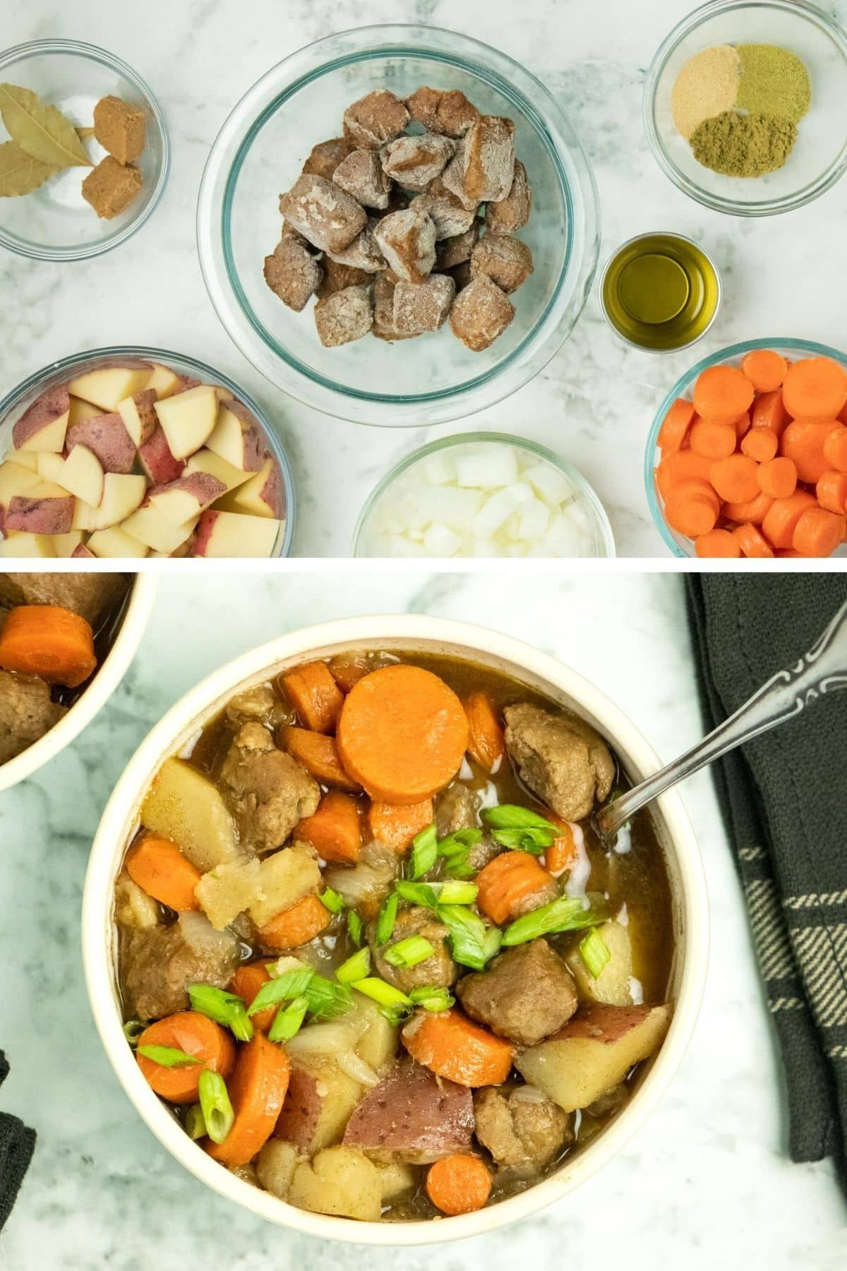 image collage showing stew ingredients and finished beefless stew in a bowl