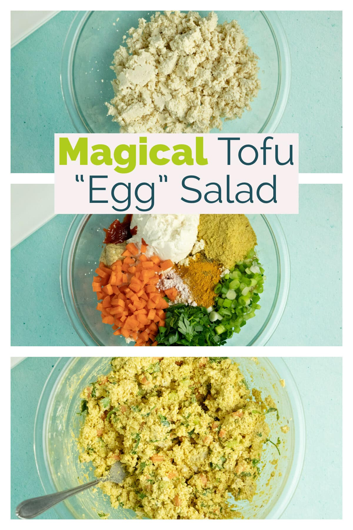 image collage showing tofu egg salad prep, text overlay