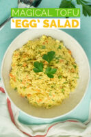 tofu egg salad in a bowl, text overlay