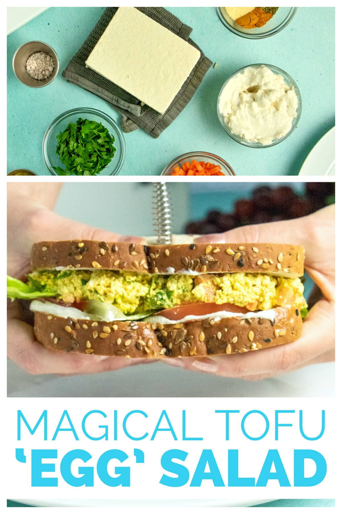 image collage of tofu salad ingredients and hands holding a sandwich, text overlay