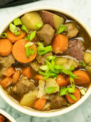 close-up of a bowl of vegan beef stew