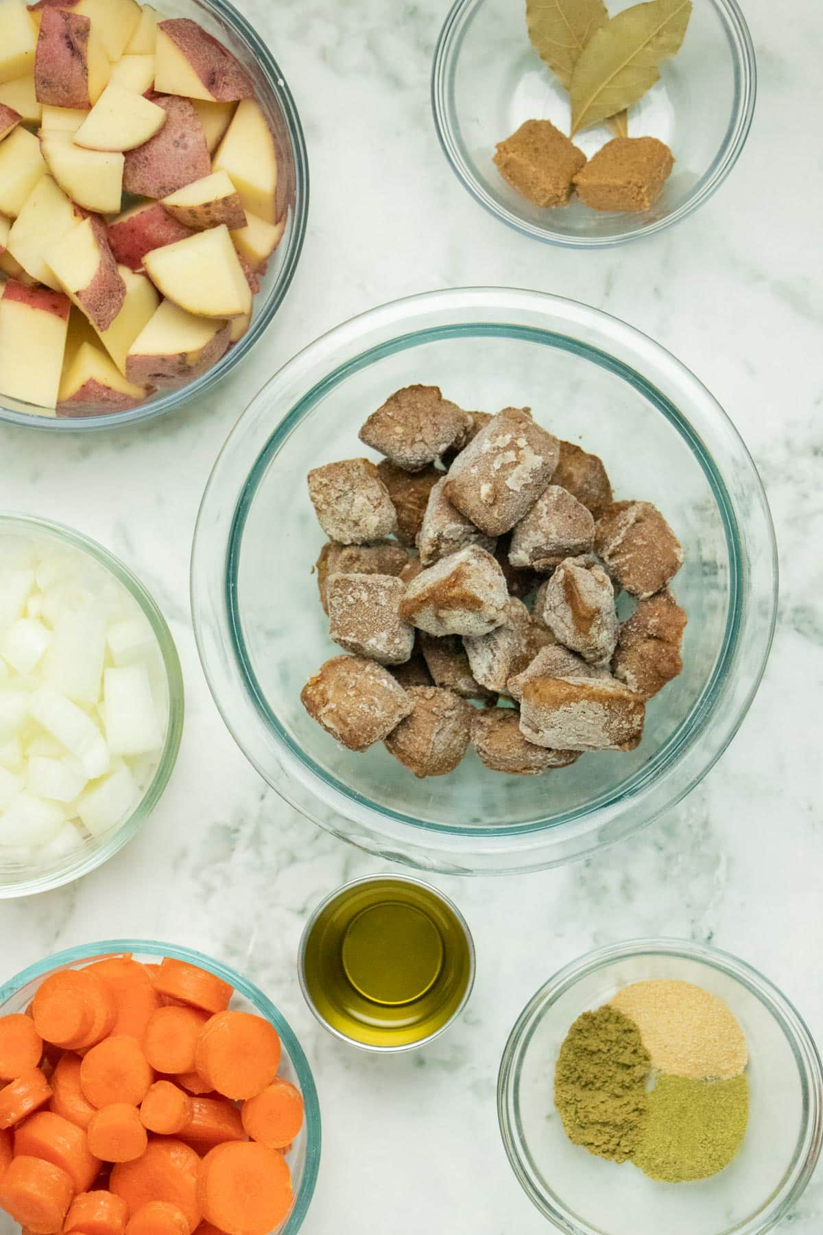 beefless stew ingredients on a marble table