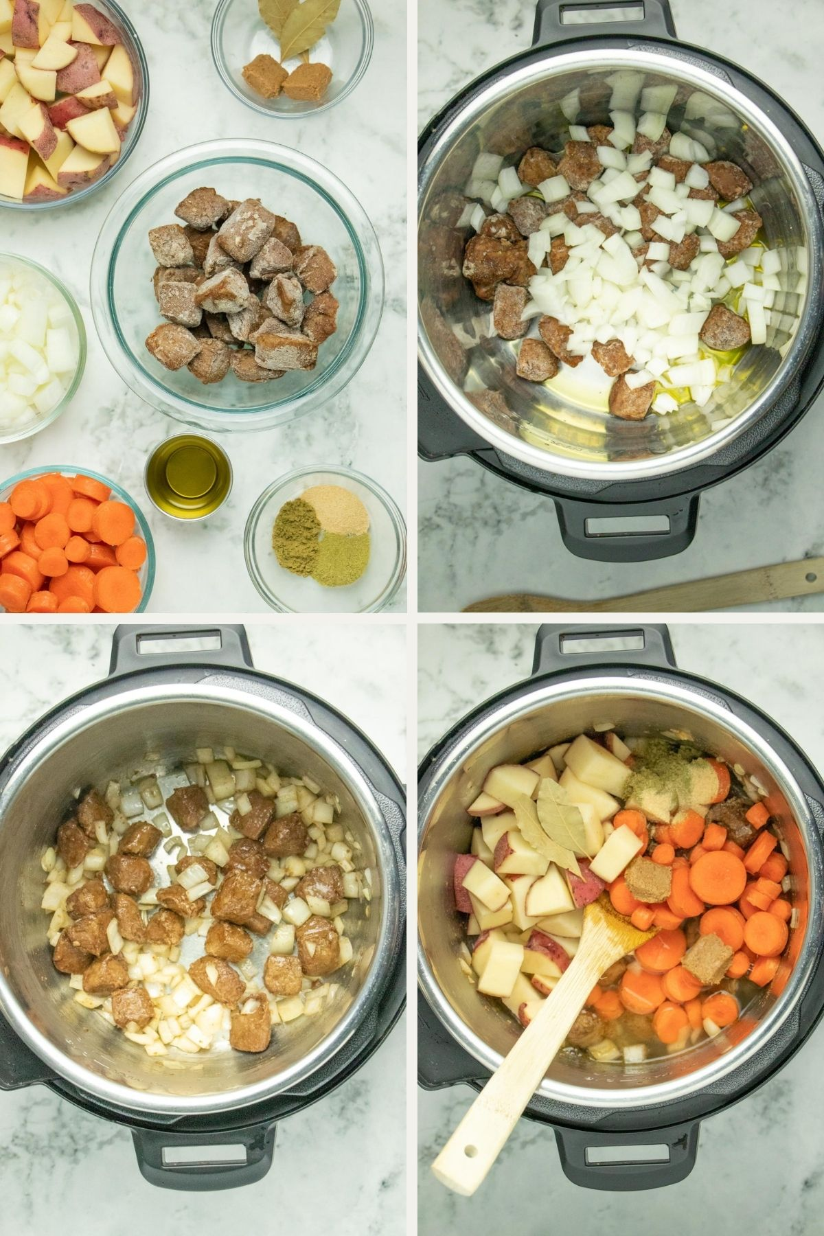 image collage of ingredients and cooking the stew in an Instant Pot