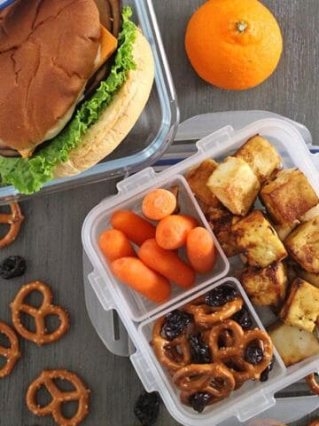 """vegan lunches made with tofu and """"fake"""" meat and cheese"""