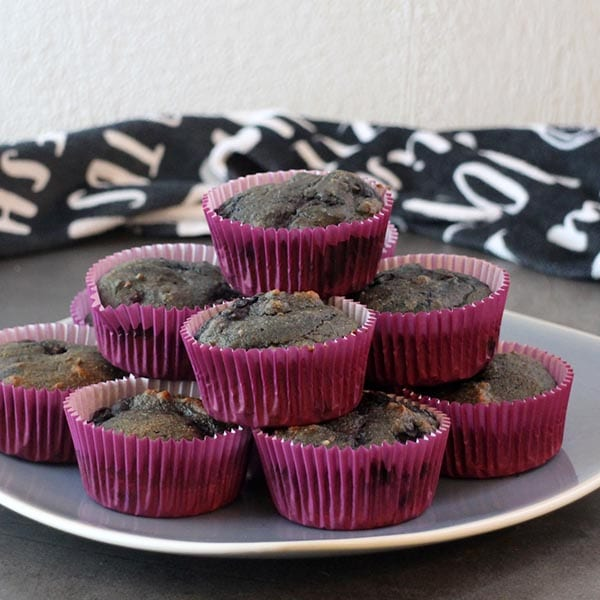 Mixed berry Halloween muffins don't use any artificial coloring. They're a great way to sneak a healthy treat into your otherwise candy-filled day.