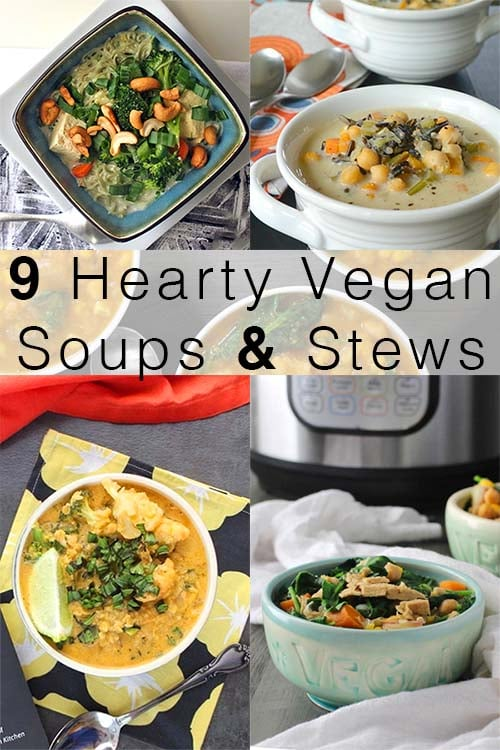 image collage of easy vegan soups and stews