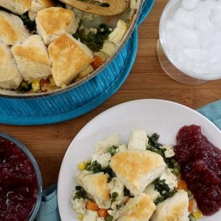 Vegan Pot Pie with Biscuit Crust is super easy to make when you use this total cheater method for the crust on top. It's packed with veggies and perfect for the holiday table.