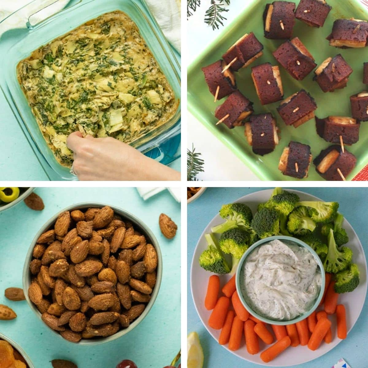 image collage of vegan party foods: spinach dip, tofu bites, garlic almonds, and ranch dip
