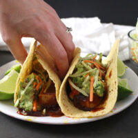 bbq tofu tacos with broccoli slaw and guac