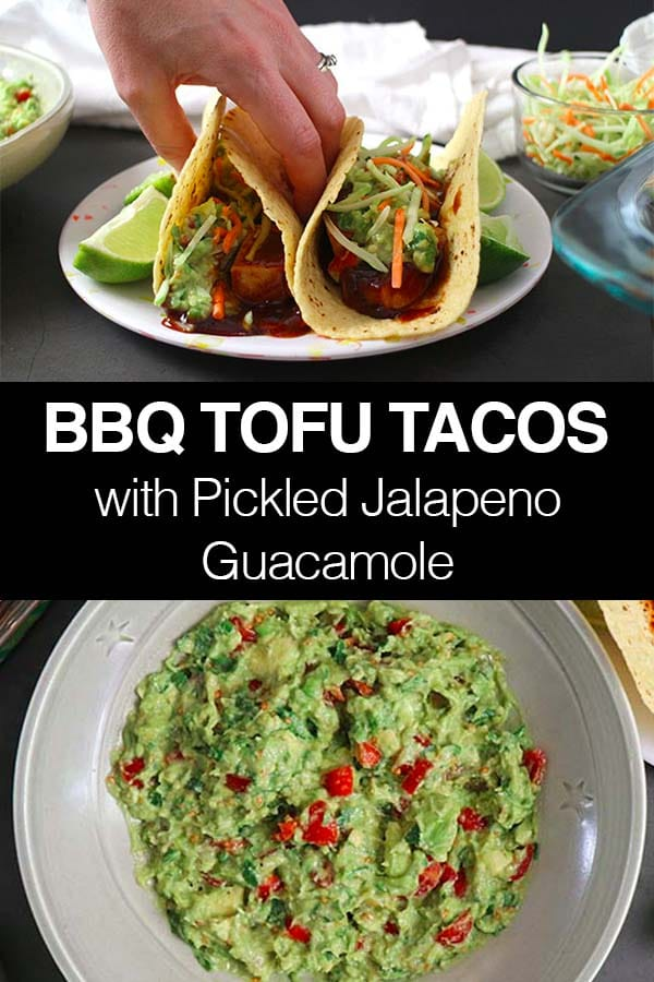 BBQ Tofu Tacos with Pickled Jalapeno Guacamole