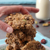Breakfast Cookies! Pumpkin Spice, Cranberry and Pistachio Morning Cookies