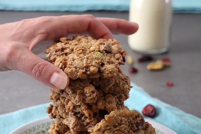 Breakfast Cookies! Pumpkin Spice, Cranberry and Pistachio Morning Cookies