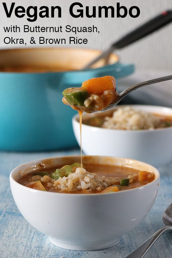 Vegan Gumbo with Butternut Squash, Okra, and Brown Rice