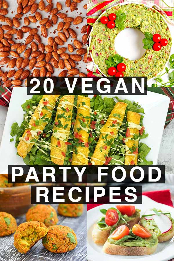 collage of plant-based party food recipes: sweet almonds, guacamole, taquitos, curry bites, bruschetta