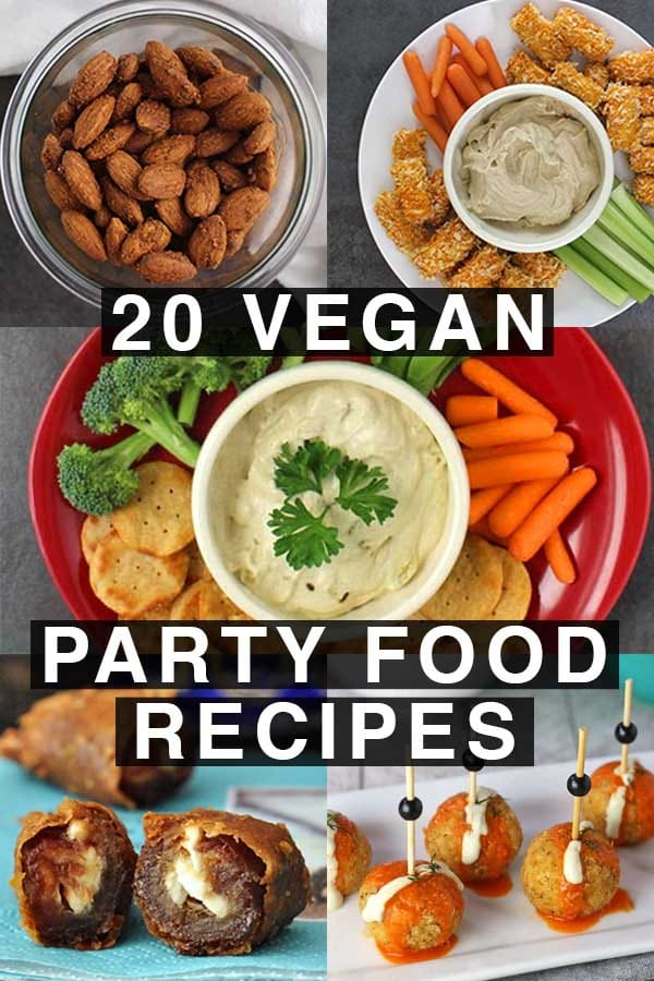 collage of vegan party food: garlicky almonds, buffalo tofu bites, eggplant dip, stuffed dates, quinoa bites