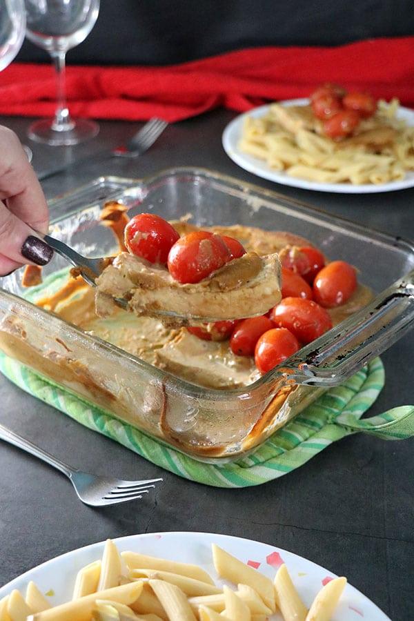 Creamy Balsamic Tofu with Cherry Tomatoes