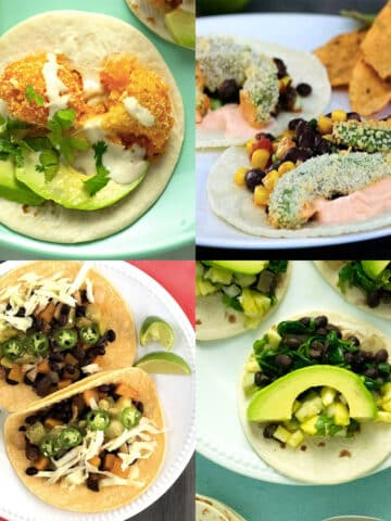 image collage of vegan taco recipes: buffalo cauliflower, crispy avocado, sheet pan veggie, and spinach tacos