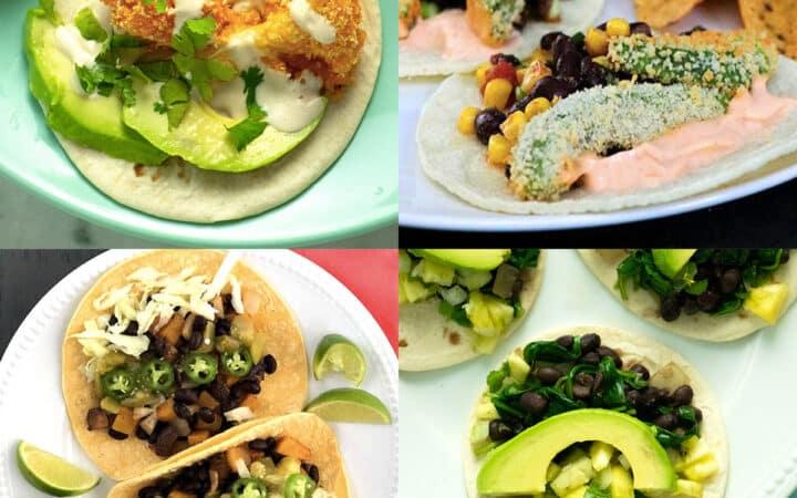 image collage of vegan taco recipes: buffalo cauliflower, crispy avocado, sheet pan veggie, and spinach tacos
