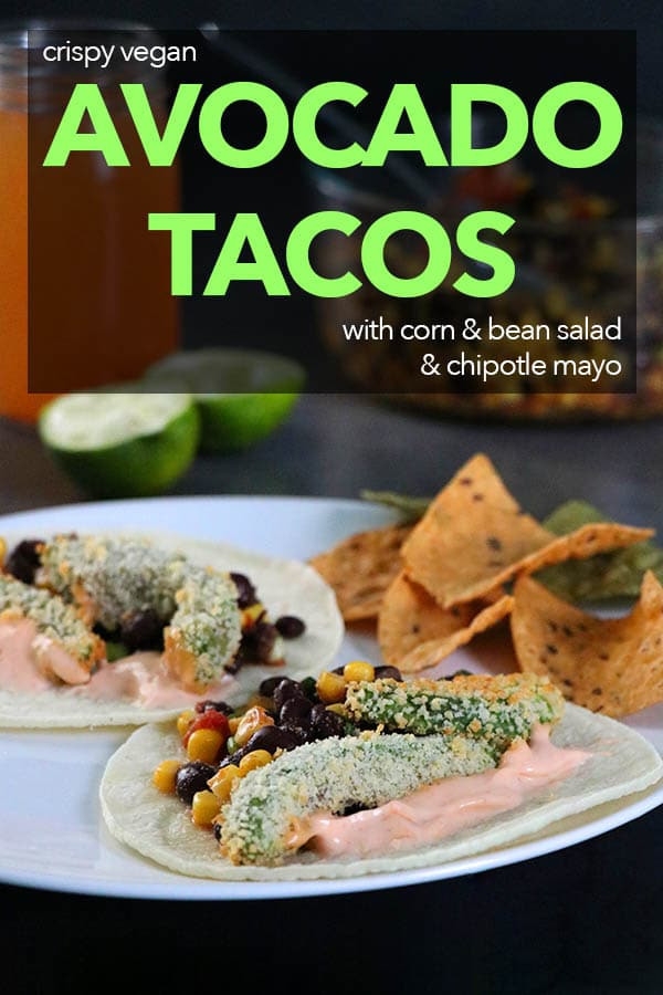 Crispy Avocado Tacos on a plate with chips