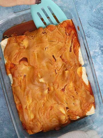 vegan enchiladas, after baking