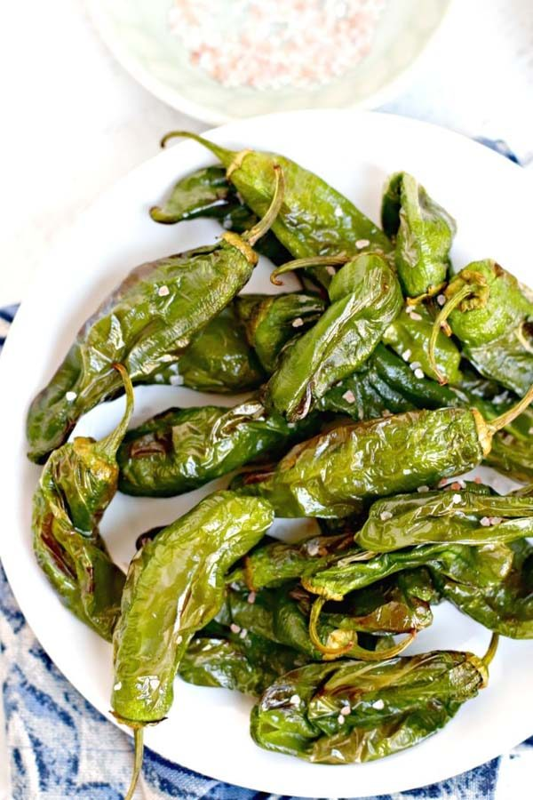 bowl of air fryer shisito peppers