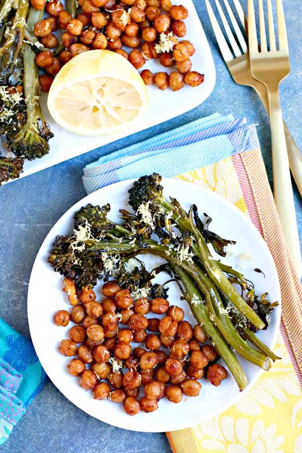 plate of sheet pan broccolini and paprika chickpeas from Veggies Save the Day