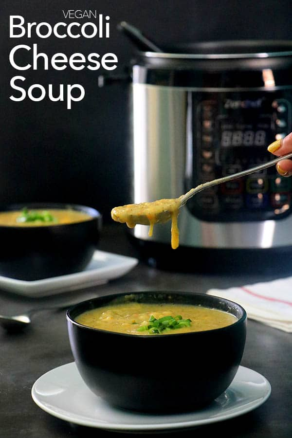 spoon over soup overflowing over the bowl. pressure cooker in the background