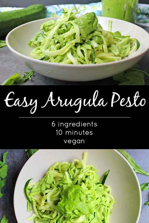 image collage of pesto zoodles in a cream-colored bowl from different angles